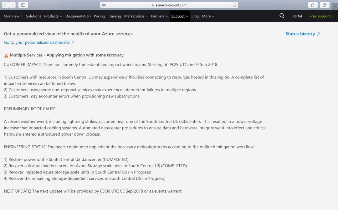 Azure 挂了:云服务被雷击垮了;已持续 22 个小时插图