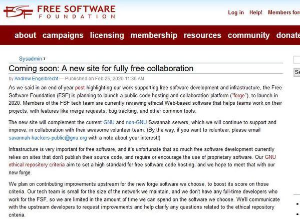 自由软件基金会计划今年推出代码托管平台forge插图