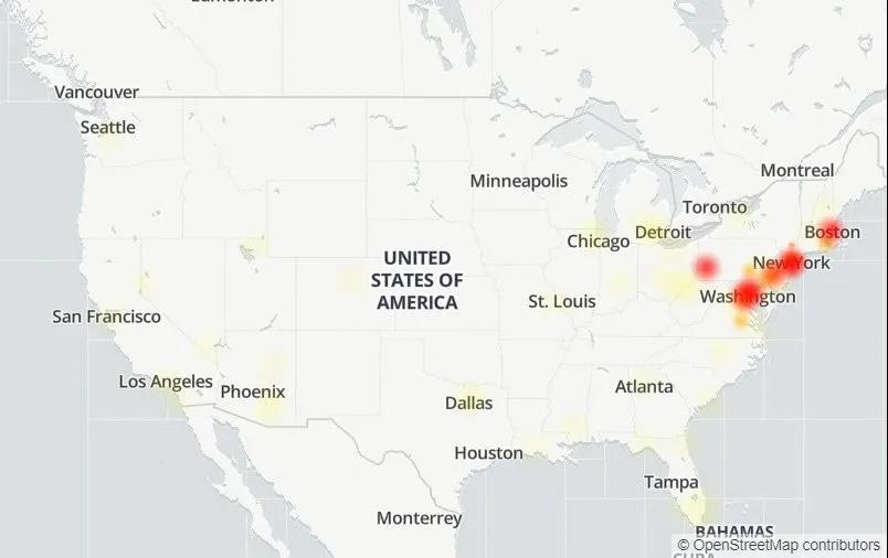 因光缆断掉,美国东海岸地区遭遇大范围的互联网故障插图