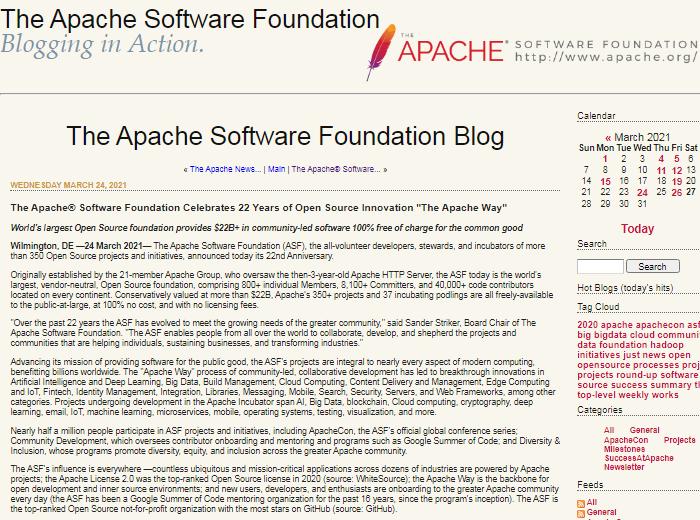 Apache软件基金会迎来22周年插图