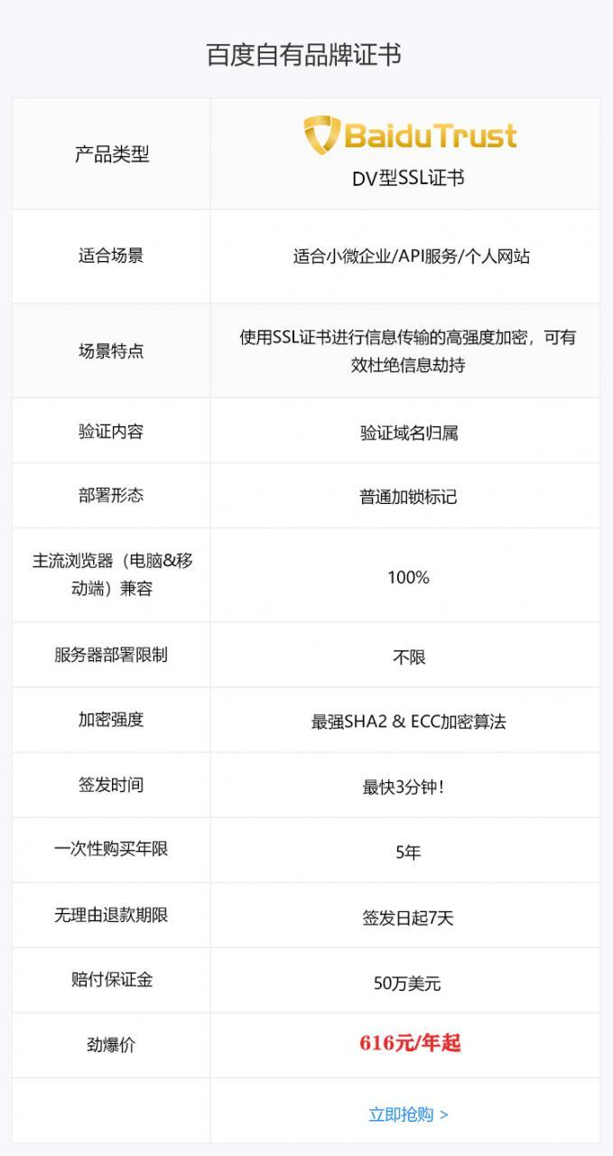 百度BaiduTrust SSL证书 域名型DV HTTPS证书插图4