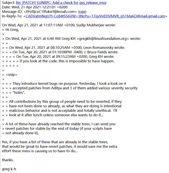 因故意插入实验性漏洞 开发者被禁止向Linux内核供应代码插图1
