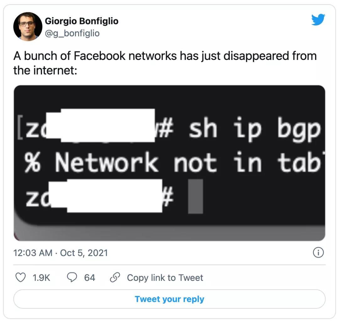 又一起BGP路由故障事件:Facebook 大瘫痪,6个小时无法访问插图5
