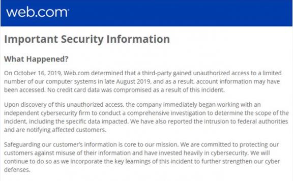 黑客攻破域名注册商Web.com安全防线 客户私密信息或被泄露
