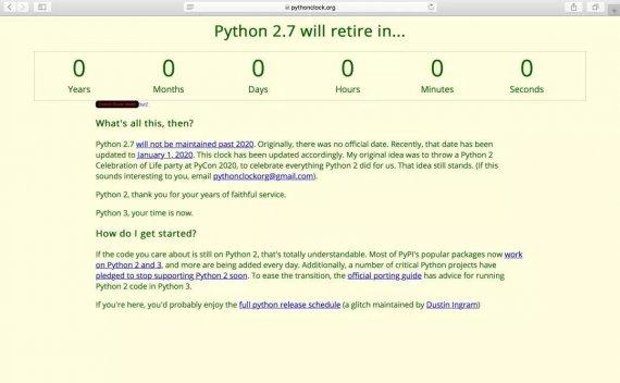 Python 2.7停止维护:2020年将不再更新