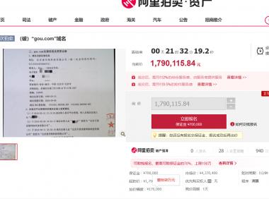 gou.com域名破产拍卖,曾二拍无人问津